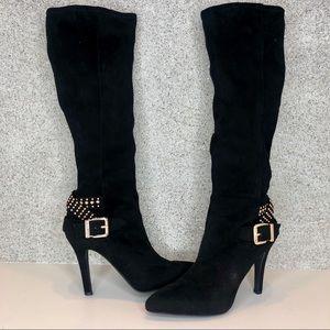 BCBG suede knee high gold embellished boots 6.5